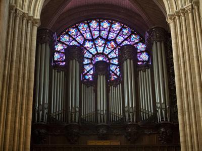 Detail of Notre Dame Cathedral Pipe Organ and Stained Glass Window, Paris, France by Jim Zuckerman
