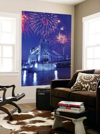 Fireworks Over the Tower Bridge, London, Great Britain, UK