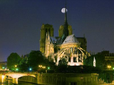 Full Moon over Notre Dame Cathedral at Night, Paris, France