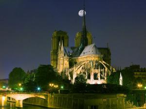 Full Moon over Notre Dame Cathedral at Night, Paris, France by Jim Zuckerman