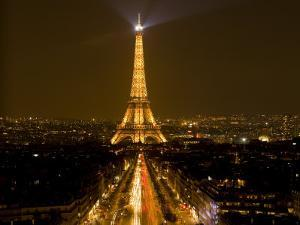 Nighttime View of Eiffel Tower and Champs Elysees, Paris, France by Jim Zuckerman