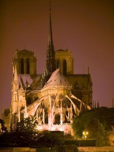 Notre Dame Cathedral Lit at Night, Paris, France by Jim Zuckerman