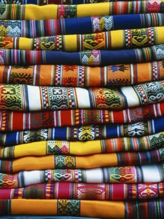 Stack of Colorful Blankets for Sale in Market, Peru