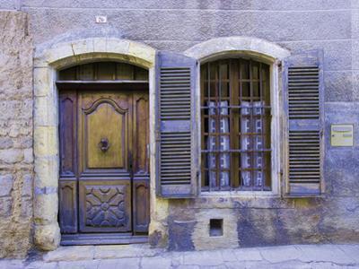 Stone Doorway with Wooden Door and Metal Knocker, Arles, France