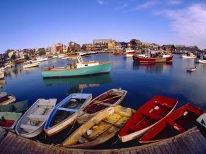 Town Buildings and Colorful Boats in Bay, Rockport, Maine, USA by Jim Zuckerman
