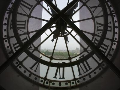 View Across Seine River from Transparent Face of Clock in the Musee d'Orsay, Paris, France