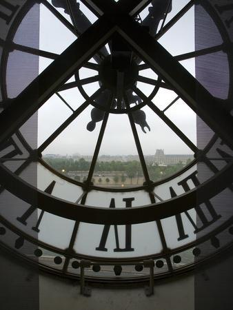 View Across Seine River Through Transparent Face of Clock in the Musee d'Orsay, Paris, France