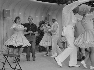 Jimmy Carter Square Dances During a Congressional Picnic on the South Lawn, 1970s--Photo
