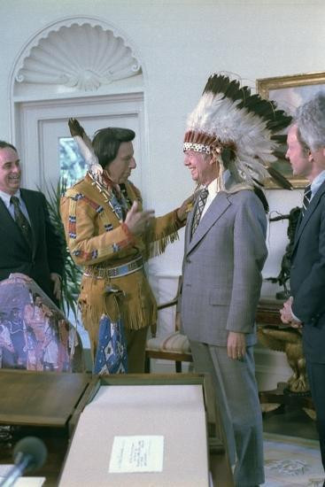 Jimmy Carter Wearing a Feathered Headdress with 'Iron Eyes' Cody , April 21, 1978--Photo