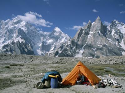 A Camp Set up in Charakusa Valley, Karakoram, Pakistan by Jimmy Chin