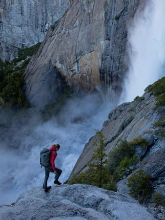A Climber on the Approach to the Yosemite Falls Wall