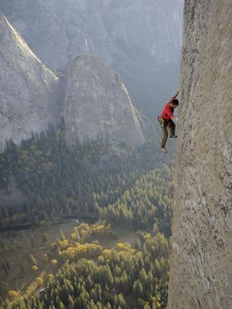 A Climber, Without a Rope, Grips an Expanse of El Capitan by Jimmy Chin
