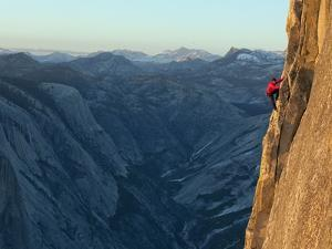 A Climber, Without a Rope, Takes on the Third Zigzag of Half Dome by Jimmy Chin