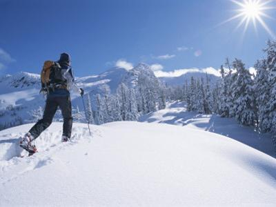 A Man Cross Country Skiing in the Selkirk Mountains