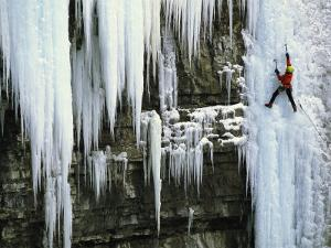 A Woman Ice Climbing in British Columbia by Jimmy Chin