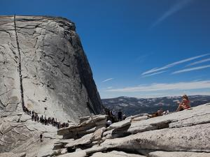Tourists Wait in Line Enroute to the Cable Route on Half Dome by Jimmy Chin