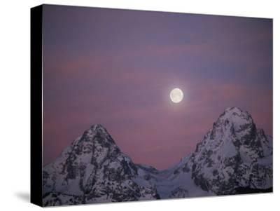 View of the Setting Moon over Grand Teton National Park