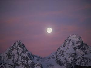 View of the Setting Moon over Grand Teton National Park by Jimmy Chin