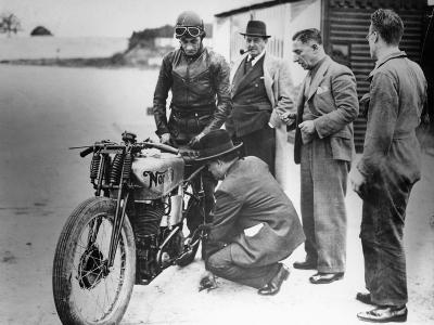 Jimmy Guthrie Riding a Norton, 1930s--Photographic Print