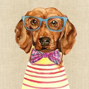 Dachshund with Fashion Glasses by Jin Jing