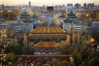 Jinshang Park Looking North at Drum Tower, Beijing, China, Overview-William Perry-Photographic Print