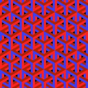 Geometric Optical Art Background in Red and Blue. by jkerrigan