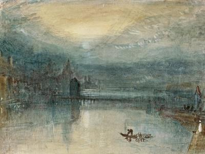 Lucerne by Moonlight: Sample Study, Circa 1842-3, Watercolour on Paper