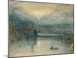 Lucerne by Moonlight: Sample Study, Circa 1842-3, Watercolour on Paper by JMW Turner