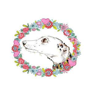 Silvertips Greyhound with Floral Border, 2012 by Jo Chambers