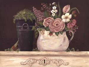 Floral W-Black Bucket by Jo Moulton