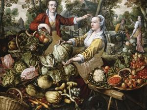 The Four Elements: A Greengrocer's Stall with the Flight Into Egypt Beyond by Joachim Beuckelaer