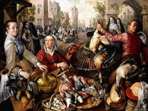 The Four Elements: a Poultry Stall in a Town with the Prodigal Son Beyond - an Allegory of Air by Joachim Beuckelaer