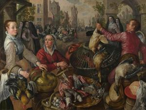 The Four Elements: Air. a Poultry Market with the Prodigal Son in the Background, 1569 by Joachim Beuckelaer