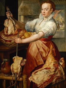 Cook with chicken (1574) by Joachim Bueckelaer