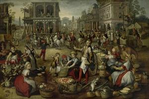 Marketplace, with the Flagellation, the Ecce Homo and the Bearing of the Cross by Joachim Bueckelaer