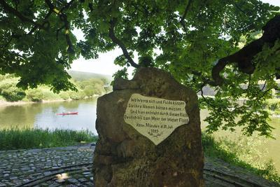 Old Weser stone at the confluence of Werra and Fulda, Hannoversch Münden, Lower Saxony, Germany