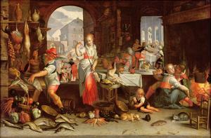 Kitchen Scene with the Parable of the Feast by Joachim Wtewael Or Utewael
