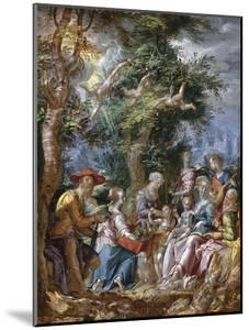 The Holy Family with Saints and Angels by Joachim Wtewael