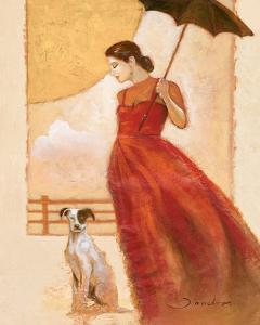 Lady in Red with Dog by Joadoor