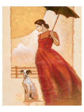 Lady in Red with Dog