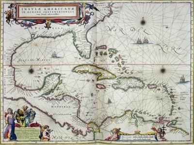 """Caribbean and Central America: from the Atlas """"Toonneel Des Aer Drycx"""", Vol II, Published, 1650 by Joan Blaeu"""