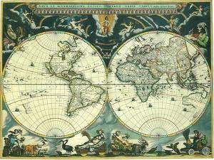 Double Hemisphere Map 1662 by Joan Blaeu