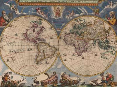 Double Hemisphere Map of the World by Joan Blaeu