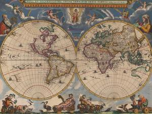 Double Hemisphere Map of the World by Joan Blaeu