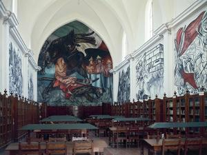 Gabino Ortiz Library Room with Frescoes by Clemente Orozco, 1940 by Joan Blaeu