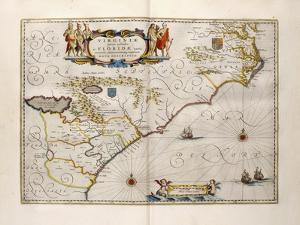 Map of Virginia and Florida, 1667 by Joan Blaeu