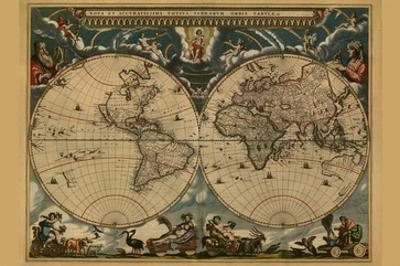 New and Accurate Map of the World by Joan Blaeu