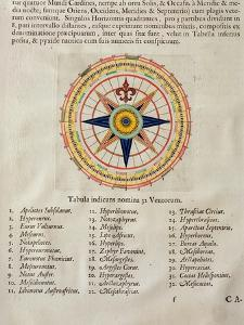 Wind Rose with the 32 Winds Ofthe World, from the 'Atlas Maior, Sive Cosmographia Blaviana', 1662 by Joan Blaeu