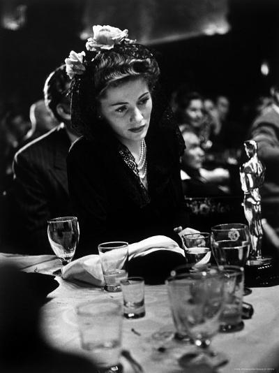 """Joan Fontaine Looking at the Best Actress Oscar She Won for Her Role in the Film """"Suspicion.""""-Peter Stackpole-Premium Photographic Print"""