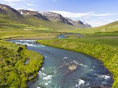 Scenic Landscape of River and Mountains in Svarfadardalur Valley in Northern Iceland